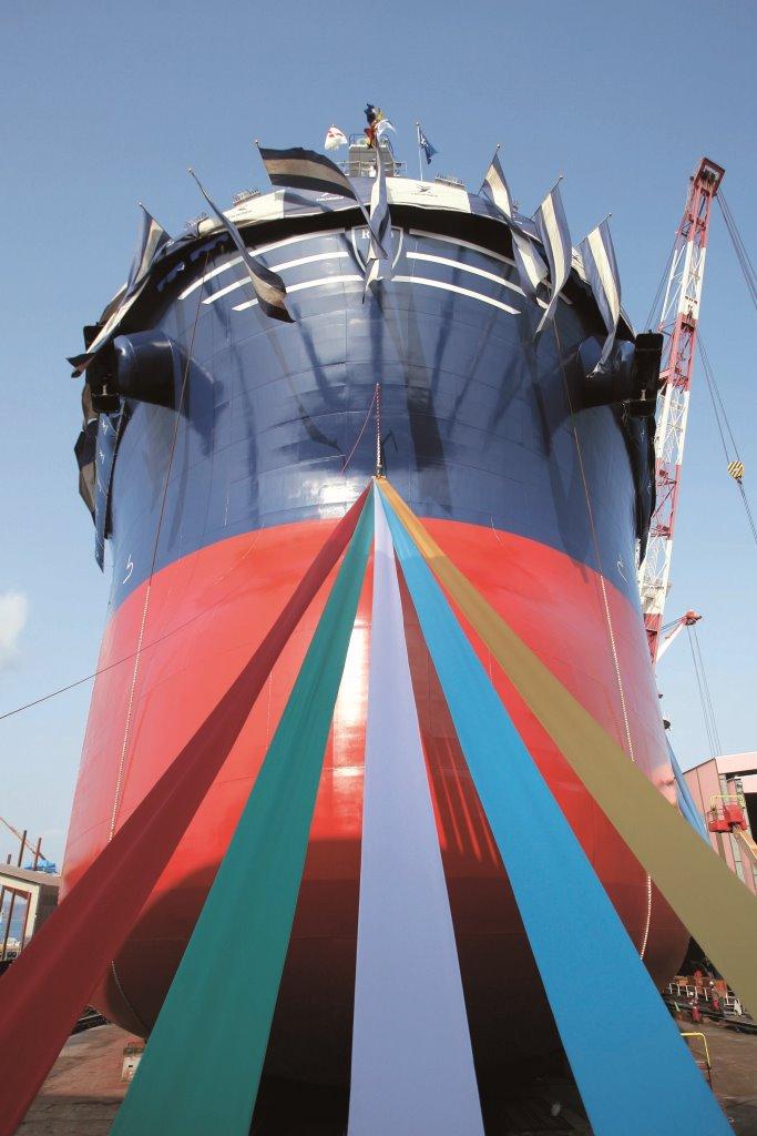 2014年11月25日,现场直播8万吨级散货船进水仪式 〜常石造船 广岛县福山市 常石工厂 第一船台