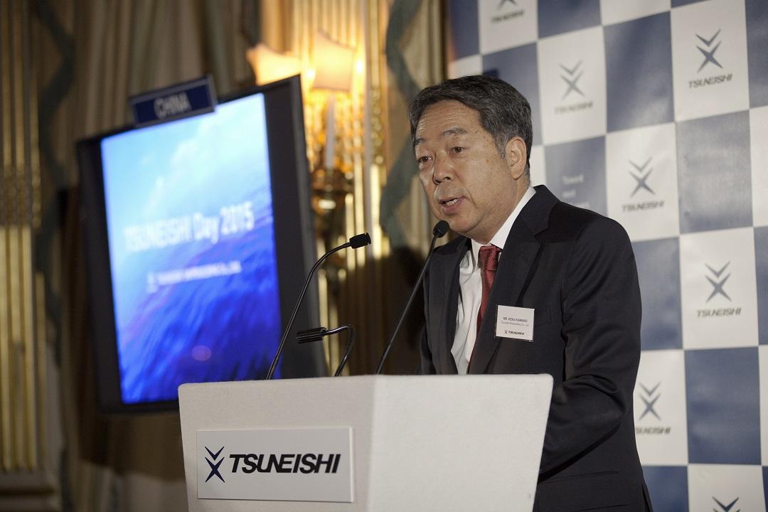 """常石造船在伦敦举办""""TSUNEISHI Day 2015""""活动~120名欧洲客户参加了宴会,加深了与欧洲海事行业的关系"""