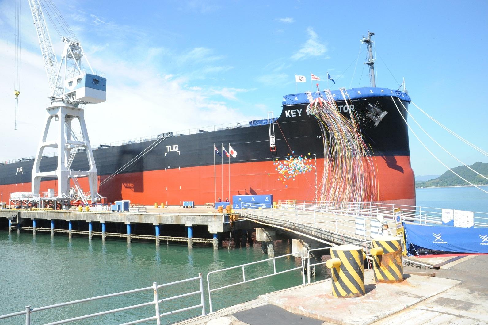 """常石集团的国内建造基地,常石造船株式会社常石工厂,建成、交付了""""卡姆萨型散装货物船""""系列船的第188艘船舶"""