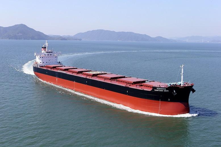 """常石集团的国内建造基地,常石造船株式会社常石工厂,建成、交付了""""卡姆萨型散装货物船""""系列船的第195艘船舶"""