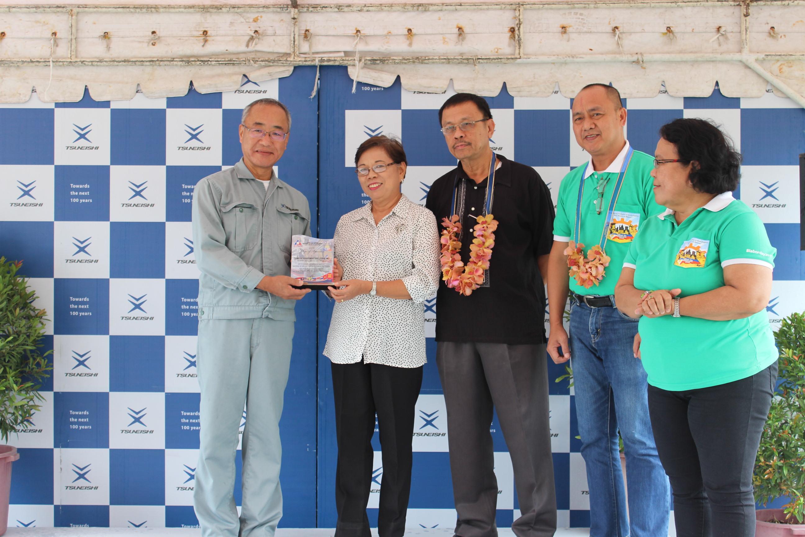 TSUNEISHI HEAVY INDUSTRIES (CEBU), Inc. 荣获菲律宾共和国劳动和就业部表彰