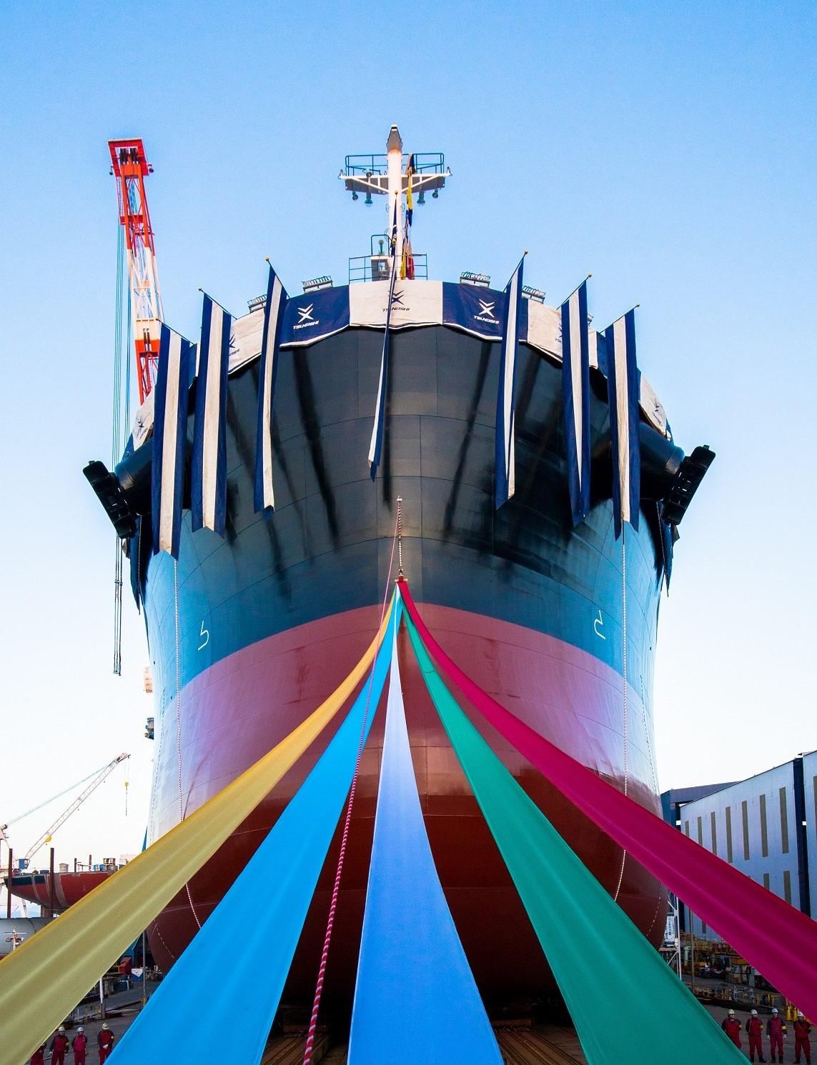 2018年4月9日,现场直播8万吨级散货船进水仪式~常石造船 广岛县福山市 常石工厂 第一船台