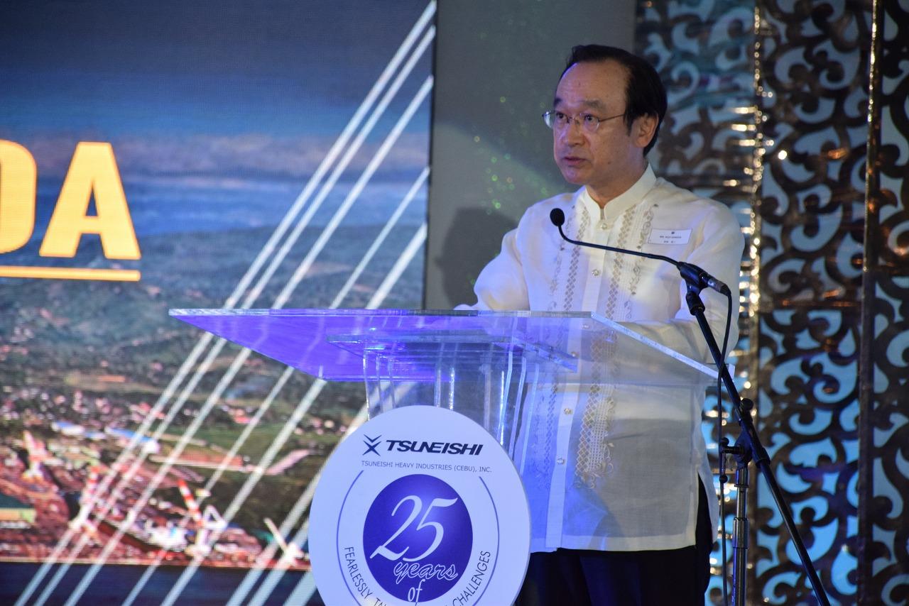 日本驻菲律宾大使馆的羽田浩二大使致祝词