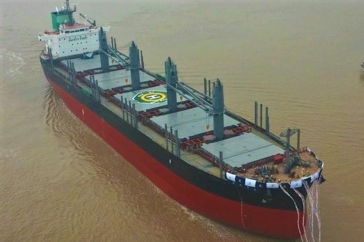 常石造船 首艘TESS42散货船下水 - 具有高通用性,提高的装载能力、和环保性能