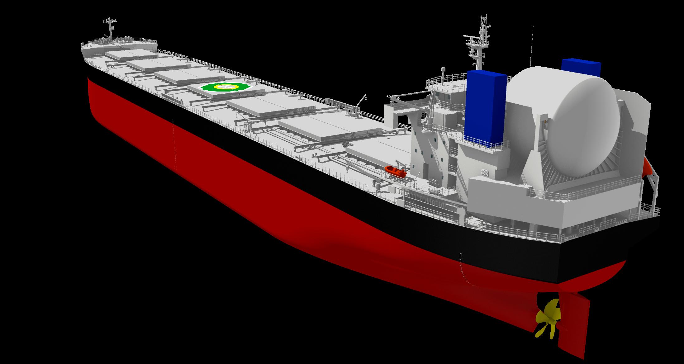 """常石造船LNG燃料散装货船""""KAMSARMAX GF""""获原则性认证(AiP) ~按EEDI标准值比降低40%CO₂"""