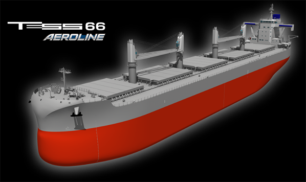 """常石造船发布新船型""""TESS66 AEROLINE""""信息 ~该船在Panamax(巴拿马型船)的宽度上达到Ultramax(极限灵便型船)最大级装载量,EEDI Phase 3合规达标~"""