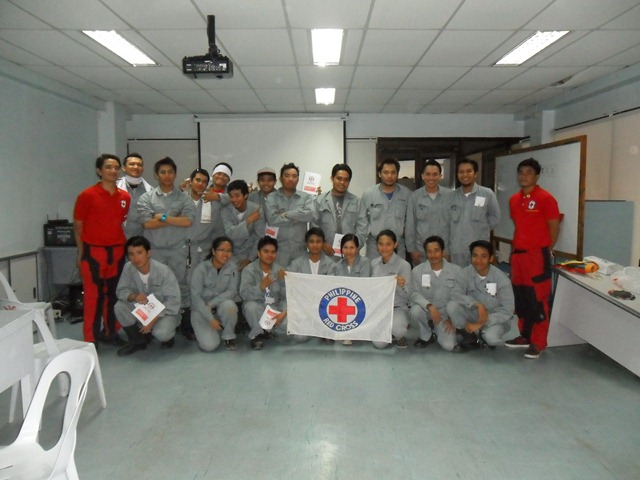 Receives certification from the Red Cross