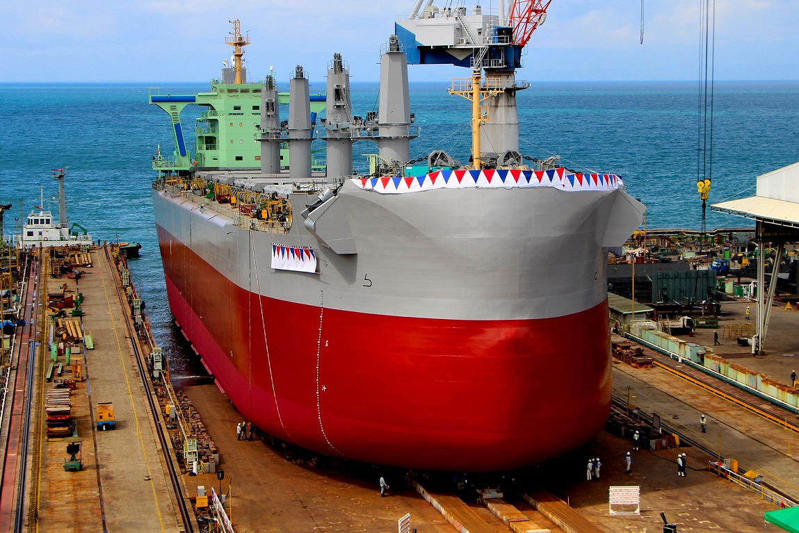 D/W 57,500 mt type Bulk Carrier TESS58 AEROLINE First Ship Launches from TSUNEISHI HEAVY INDUSTRIES (CEBU), Inc.