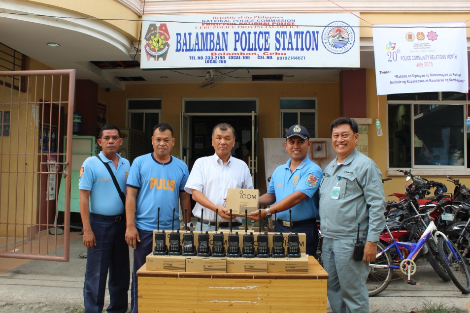 TSUNEISHI HEAVY INDUSTRIES (CEBU), Inc. donates transceivers to Balamban Police