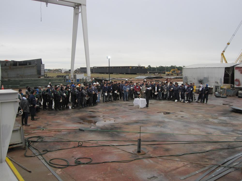 A prayer of safety festival held to mark the start of the construction of pusher boats at the Tsuneishi Group's ship building yard in Paraguay, ASTILLERO TSUNEISHI PARAGUAY S.A.