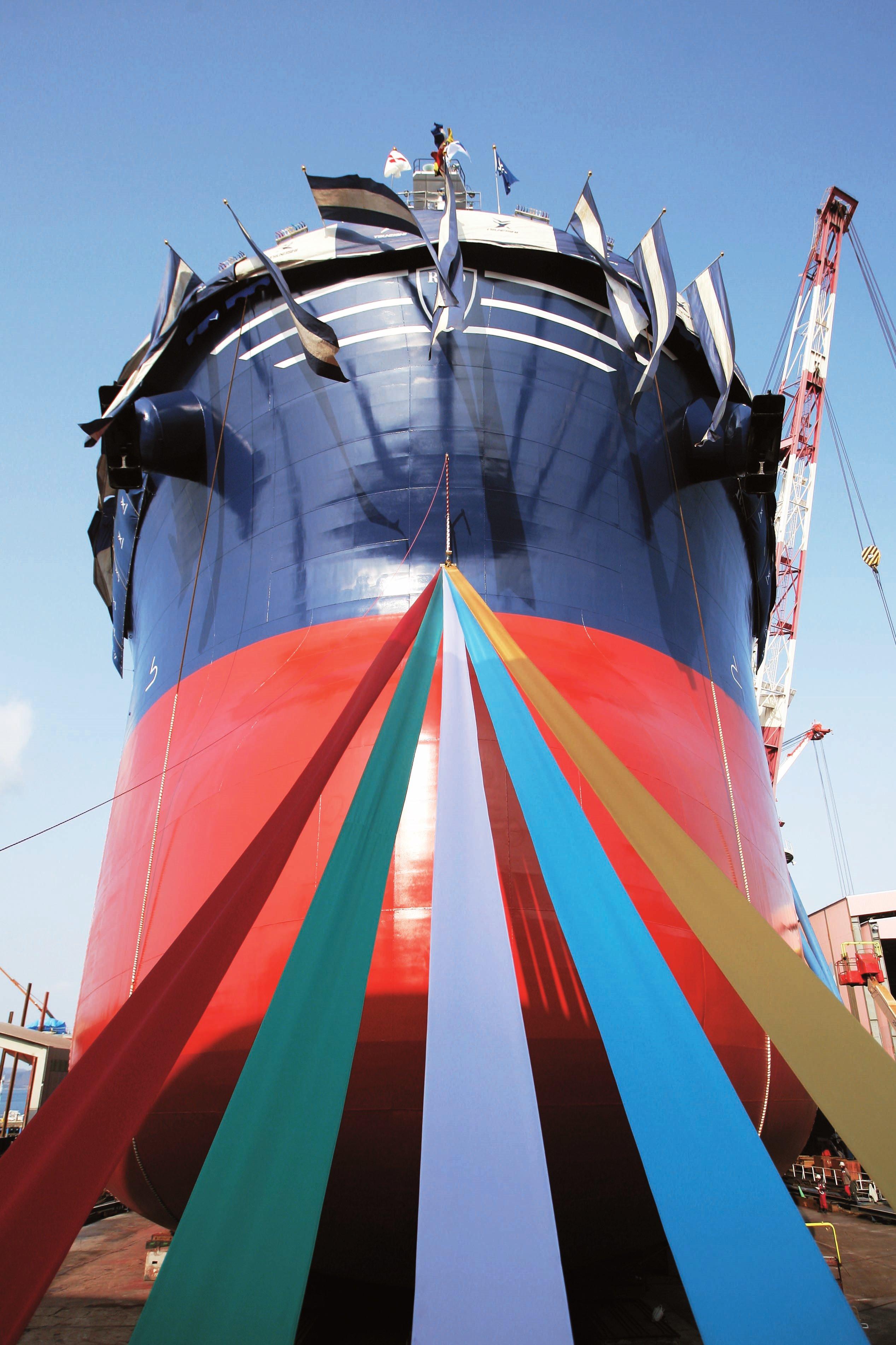 2015年2月16日、8万トン級バルカーの進水式〜広島県福山市の常石造船・常石工場からライブ中継