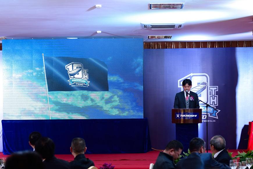 常石(上海)船舶設計有限公司芦田琢磨董事長がウェルカムスピーチ