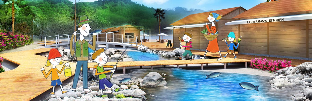 瀬戸内の海の生物の観察、磯遊び、魚にエサあげなど自然とふれあう「Fish Land」