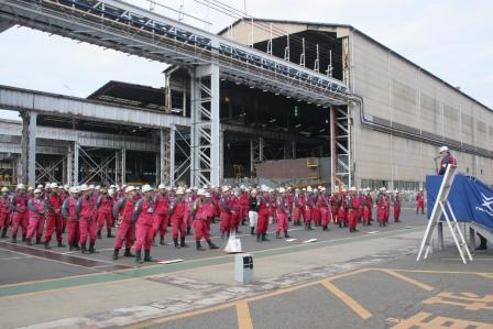 常石工場:技能オリンピック開会式