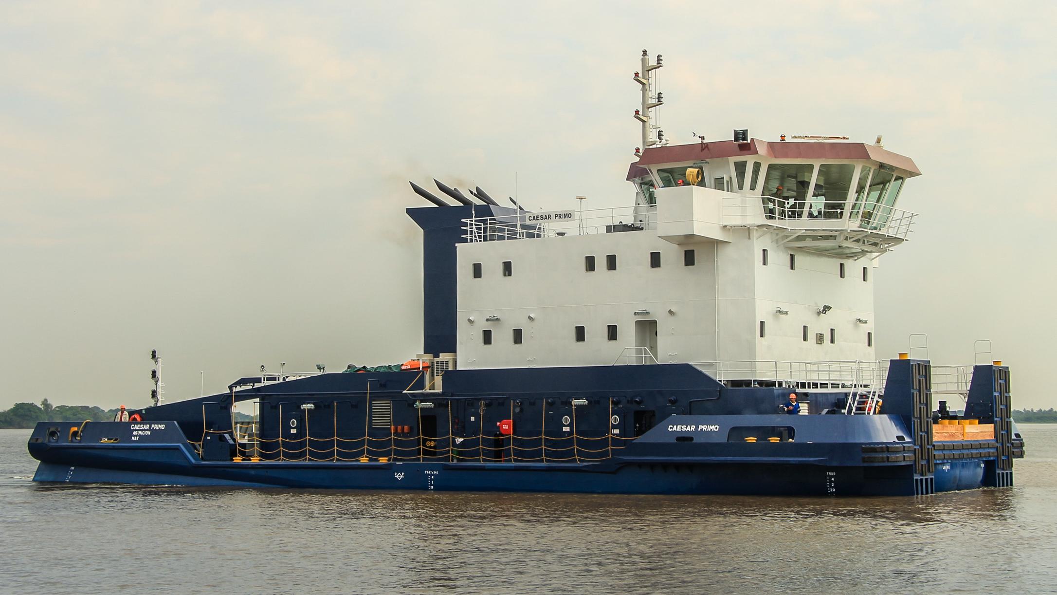常石造船のパラグアイ造船拠点、アスティジェロ・ツネイシ・パラグアイで6,000馬力のプッシャーボートを初竣工
