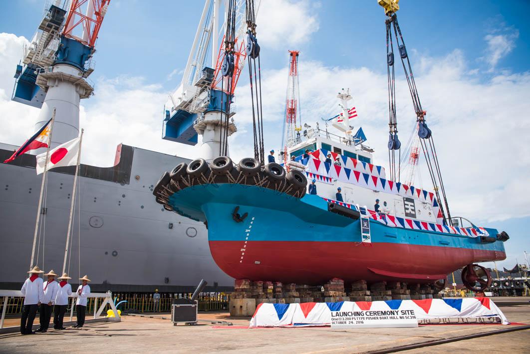 新造船タグボート「うつみ」進水