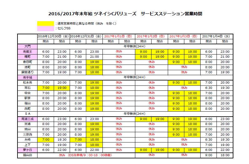 サービスステーション年末年始の営業時間(2016-2017)