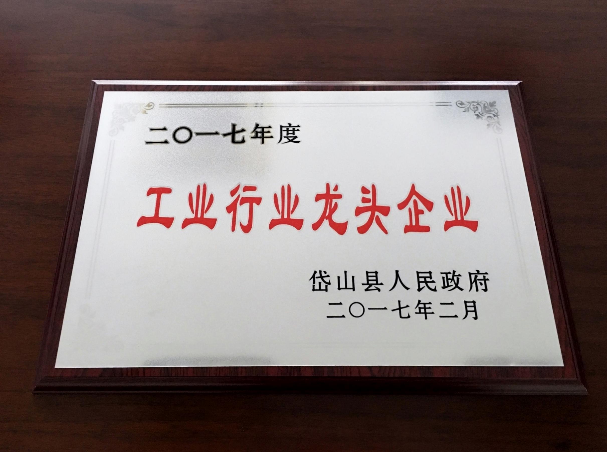 工業リーディングカンパニー賞状