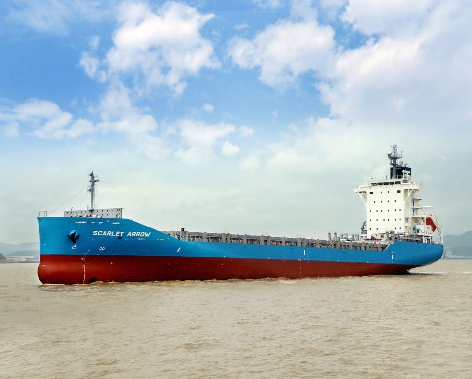 神原汽船 新造船1020TEU型コンテナ船 「SCARLET ARROW」 中国~瀬戸内・九州航路に就航