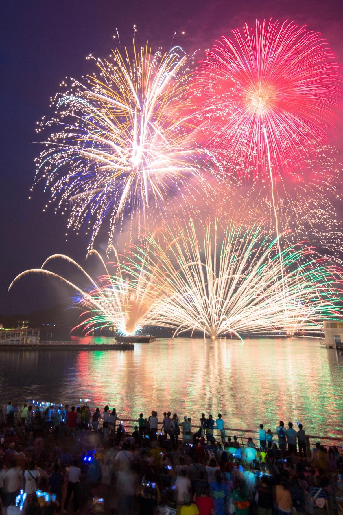 夜空と夏の海を彩る「ツネイシ花火」開催!~ツネイシみらい財団~