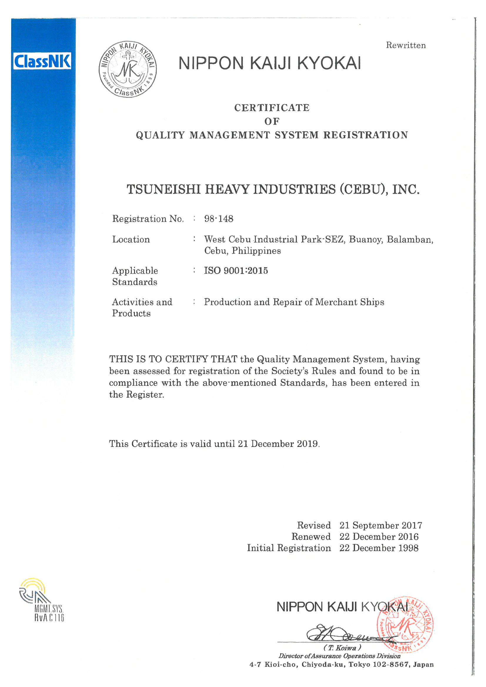 TSUNEISHI HEAVY INDUSTRIES (CEBU), Inc. Acquires ISO 9001 / 14001: 2015 Certification
