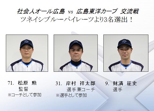社会人オール広島に選出された3名
