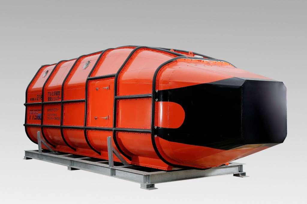 アルミ浮揚型津波シェルター