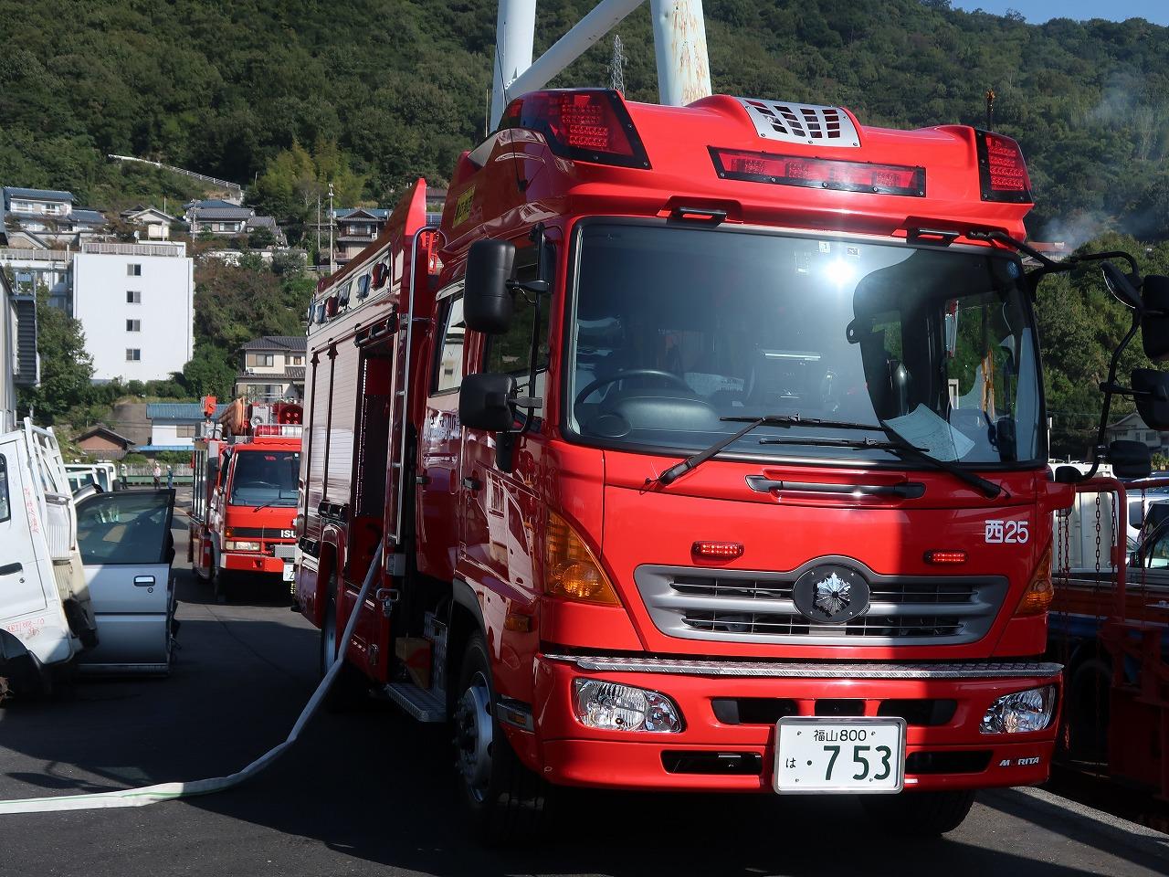 消防車が到着