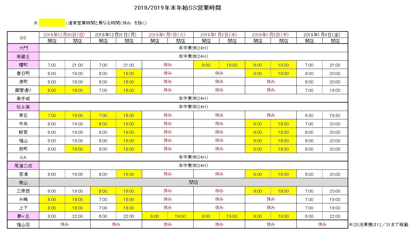 サービスステーション営業時間(2018-2019)