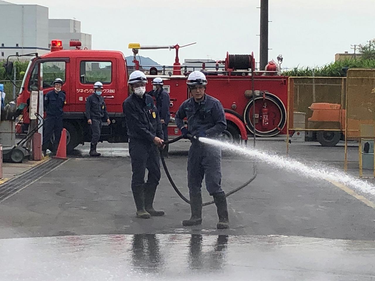 ツネイシカムテックス 消防訓練を実施 ~火災を防ぐ ・火災に備える~