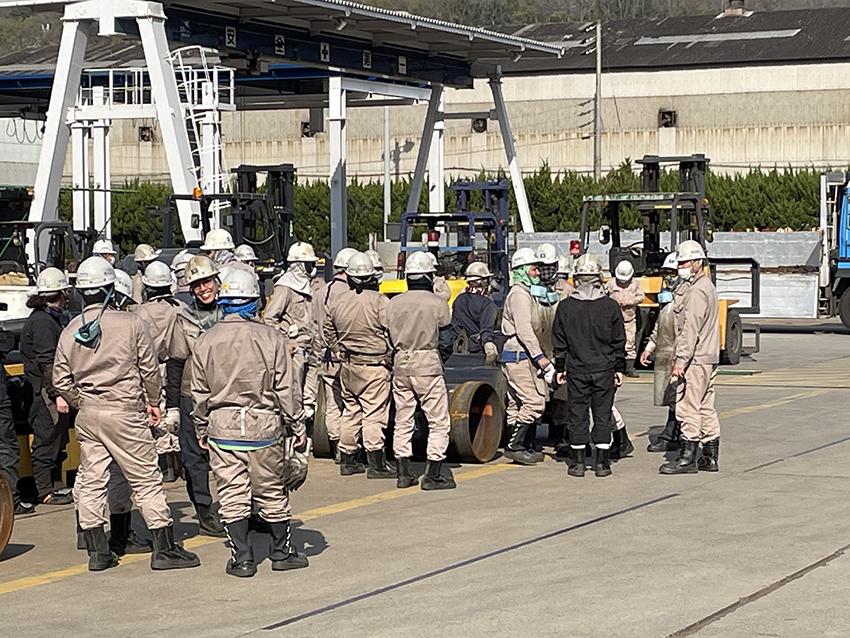 常石鉄工 パイプ工場で消防訓練を実施