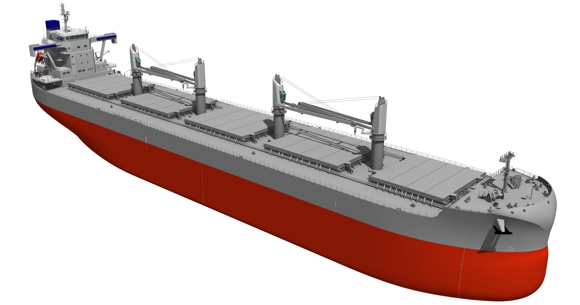 """写真2 新船型""""TESS66 AEROLINE""""。常石造船の風圧抵抗削減技術""""AEROLINE""""を搭載している"""