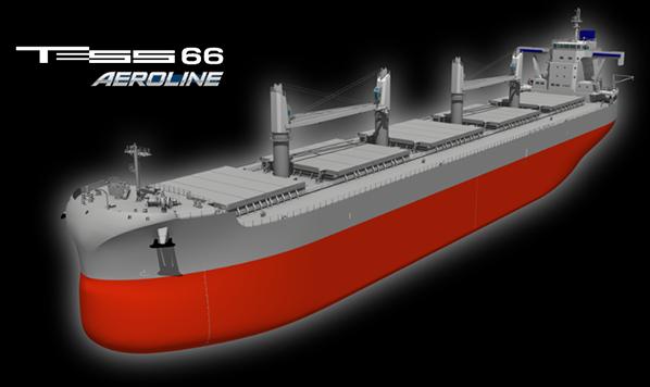 """常石造船 新船型""""TESS66 AEROLINE""""の情報を公開 ~ウルトラマックス最大級の載貨重量をパナマックス幅で実現、EEDIフェーズ3クリア~"""